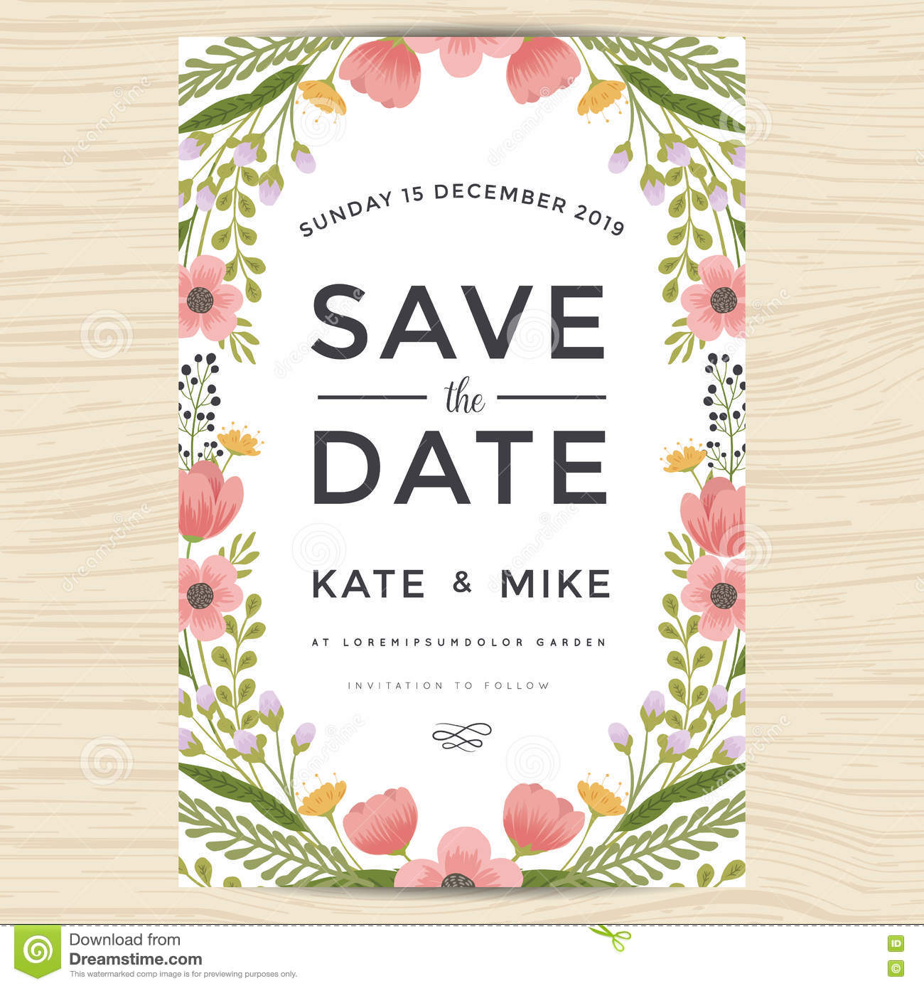 Save The Date, Wedding Invitation Card Template With Hand ...