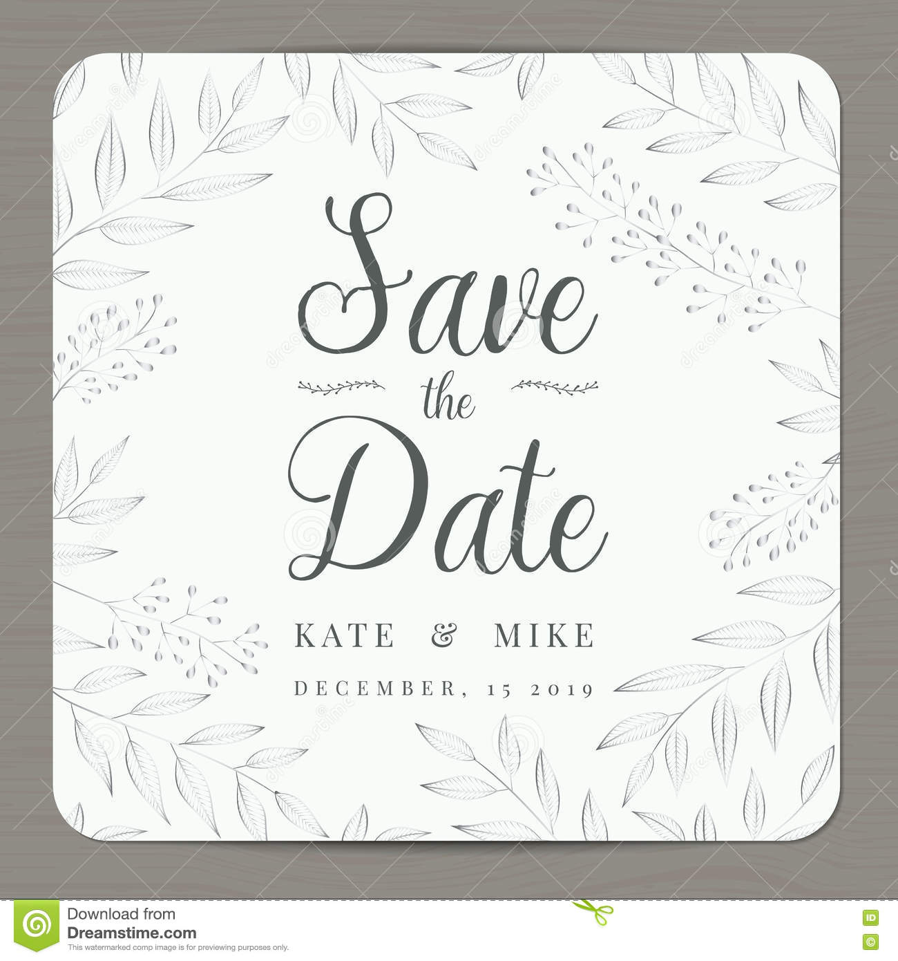 Save The Date Wedding Invitation Card Template With Silver