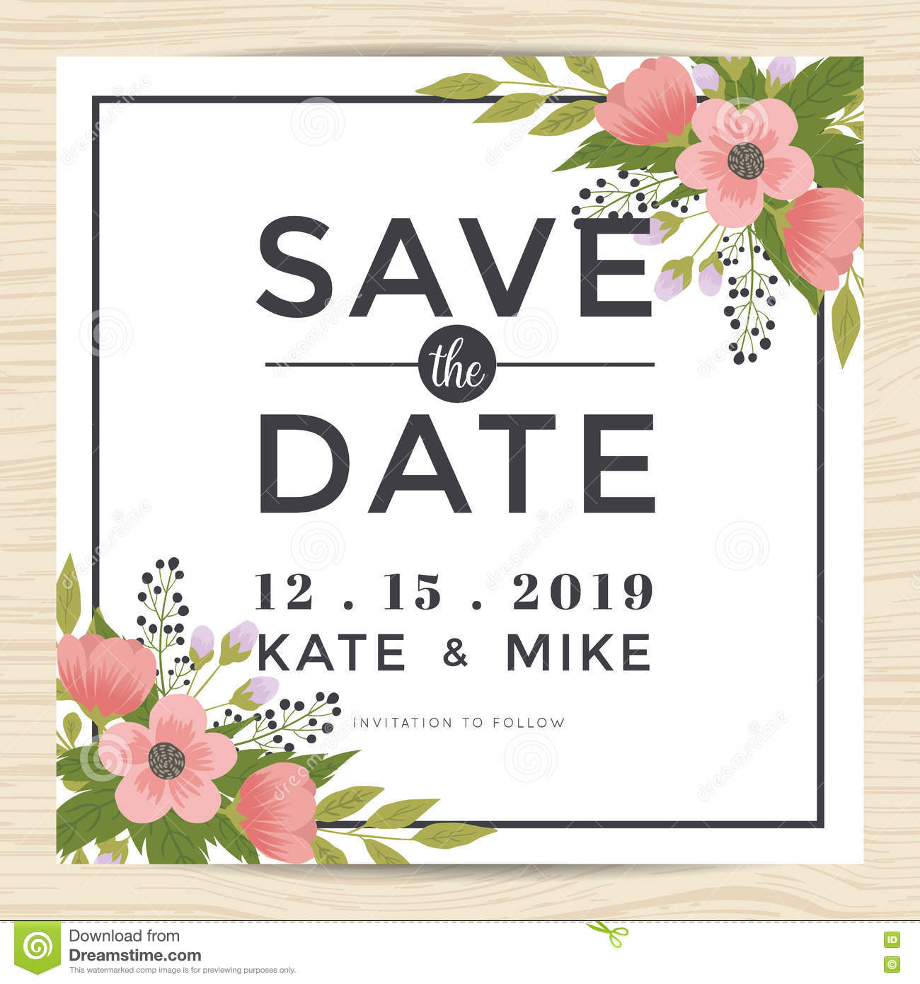 Save the date wedding invitation card template with for Vintage save the date templates free