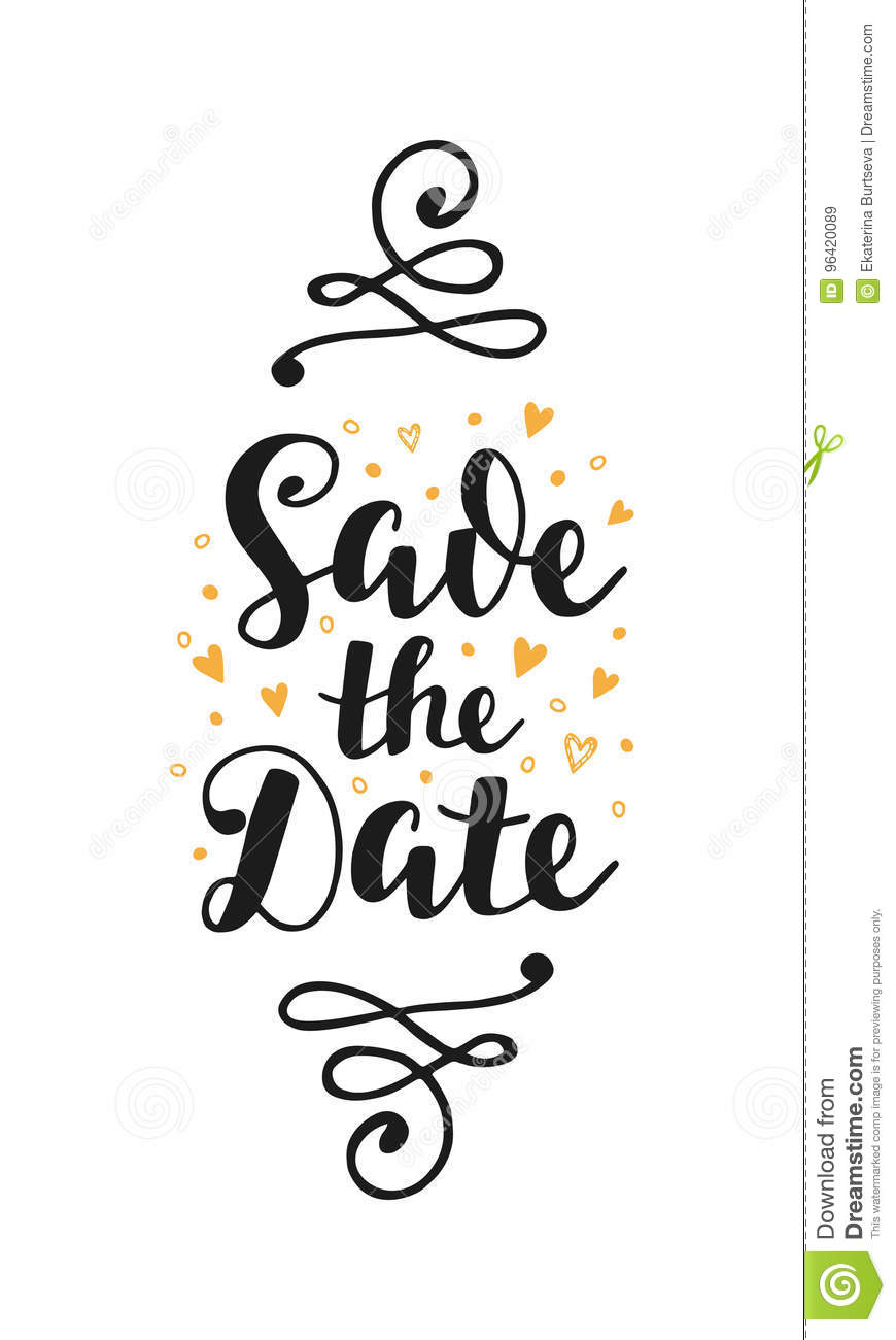 Save The Date Wedding Invitation Card Stock Vector Illustration