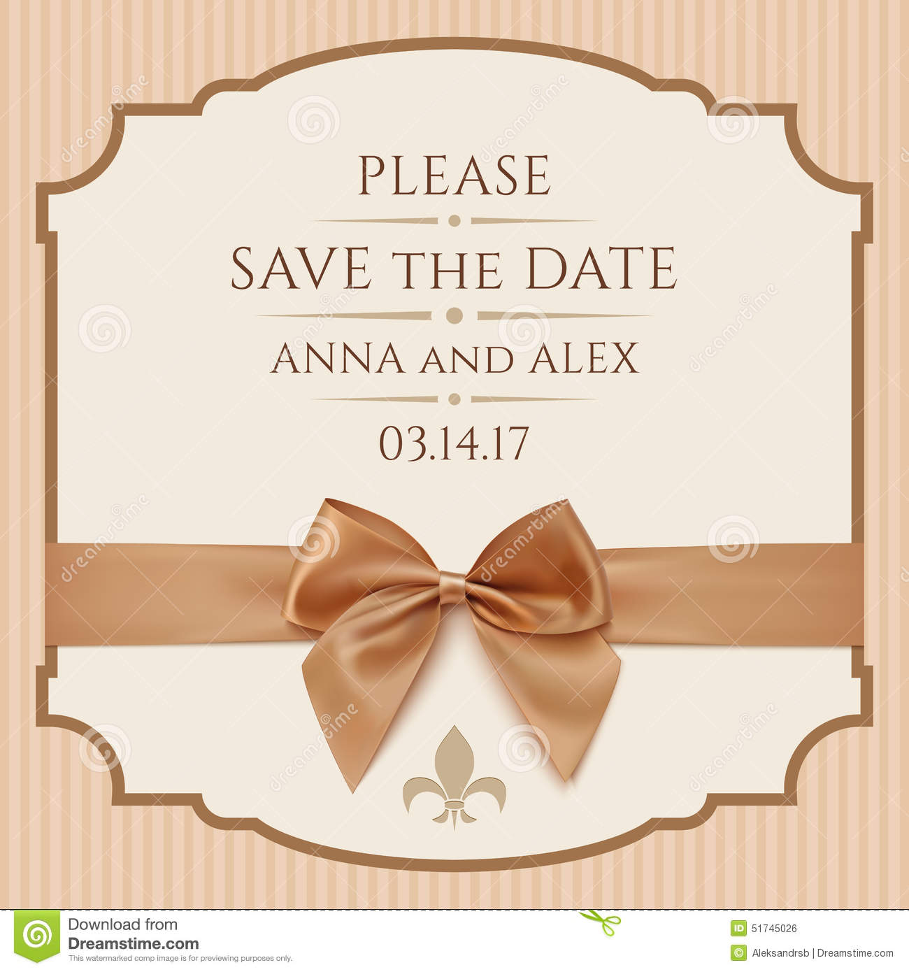 Bow Card Date Golden Greeting Illustration Invitation Ribbon Save Template  Vector Vintage Wedding ...