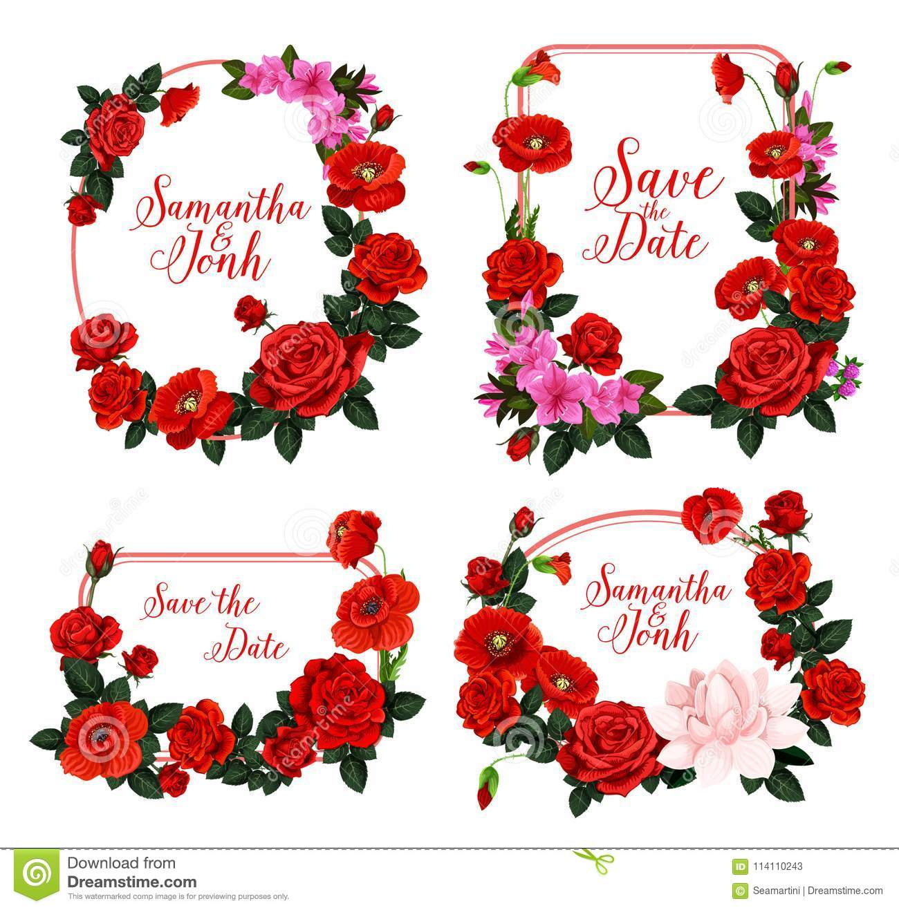 Wedding Invitation Design With Frame Of Red Flower Stock Vector ...