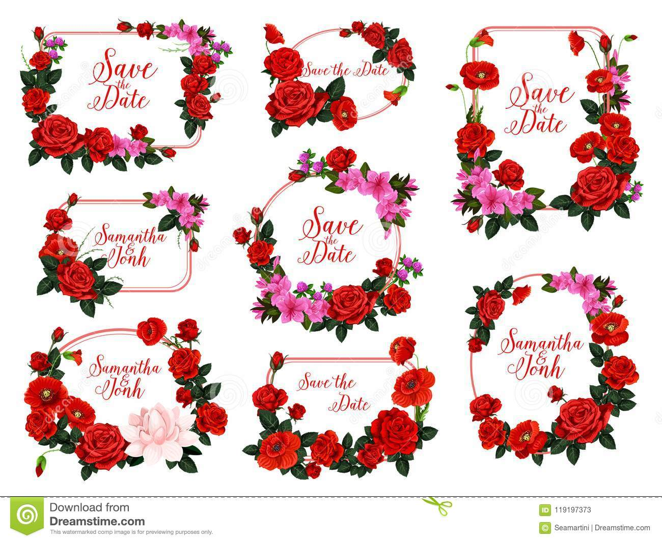 Save The Date Flower Frame For Wedding Invitation Stock Vector ...