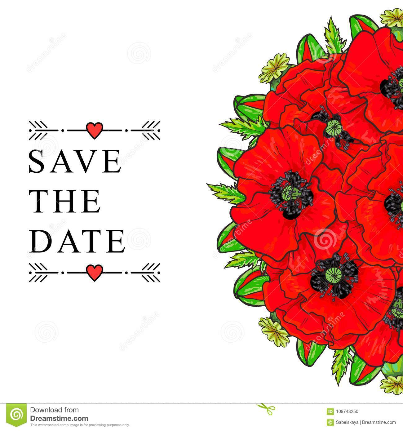 Save The Date Wedding Invitation Template, Poppies Stock Vector ...