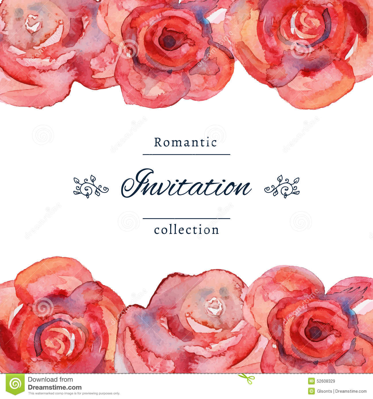 Save The Date Or Wedding Invitation Templates With Red Roses – Red Rose Wedding Invitation