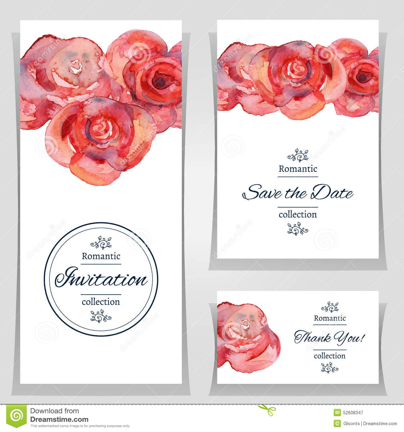 Cards Date Drawn Flowers Hand Illustration Invitation Red Roses Save ...