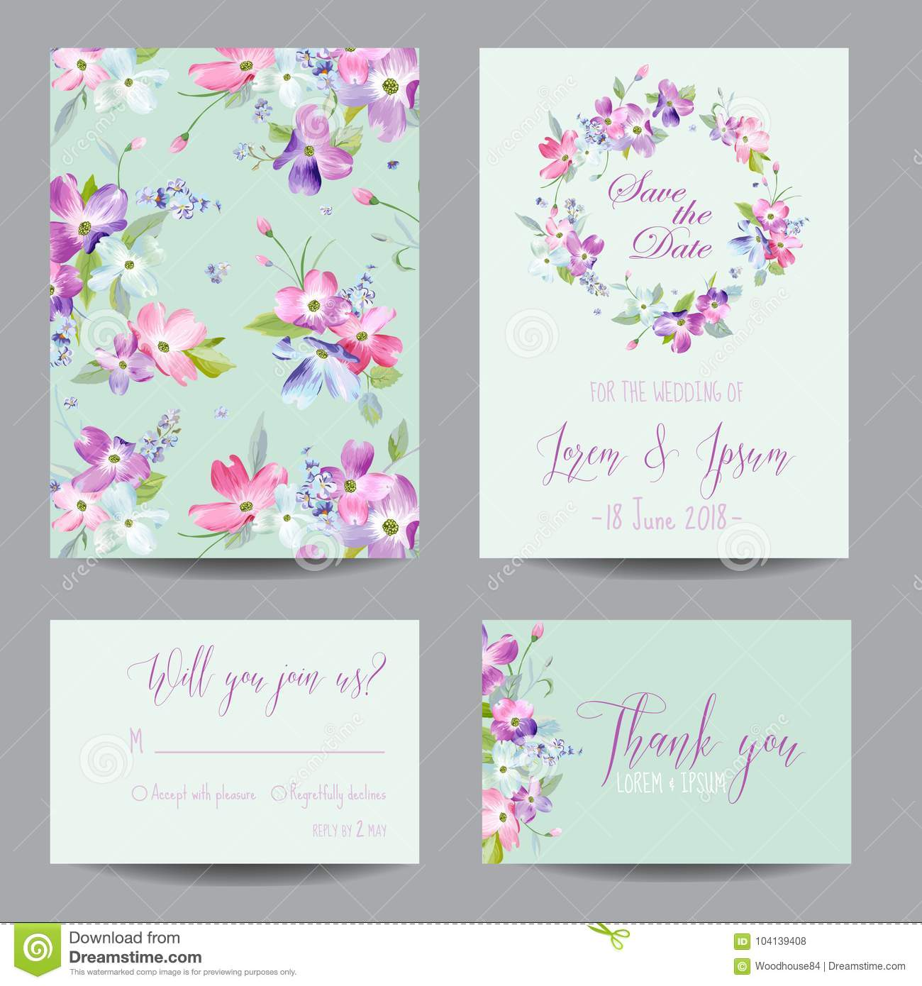Save the Date Wedding Invitation Template with Spring Dogwood Flowers. Romantic Floral Greeting Card Set for Celebration