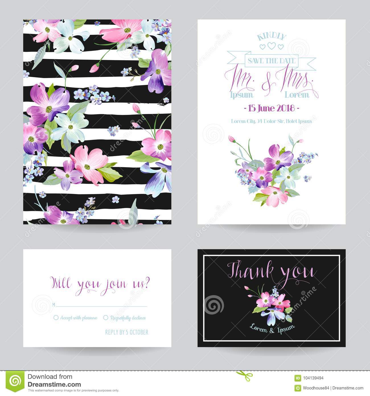 Save the date wedding invitation template with spring dogwood download save the date wedding invitation template with spring dogwood flowers romantic floral greeting card stopboris Image collections