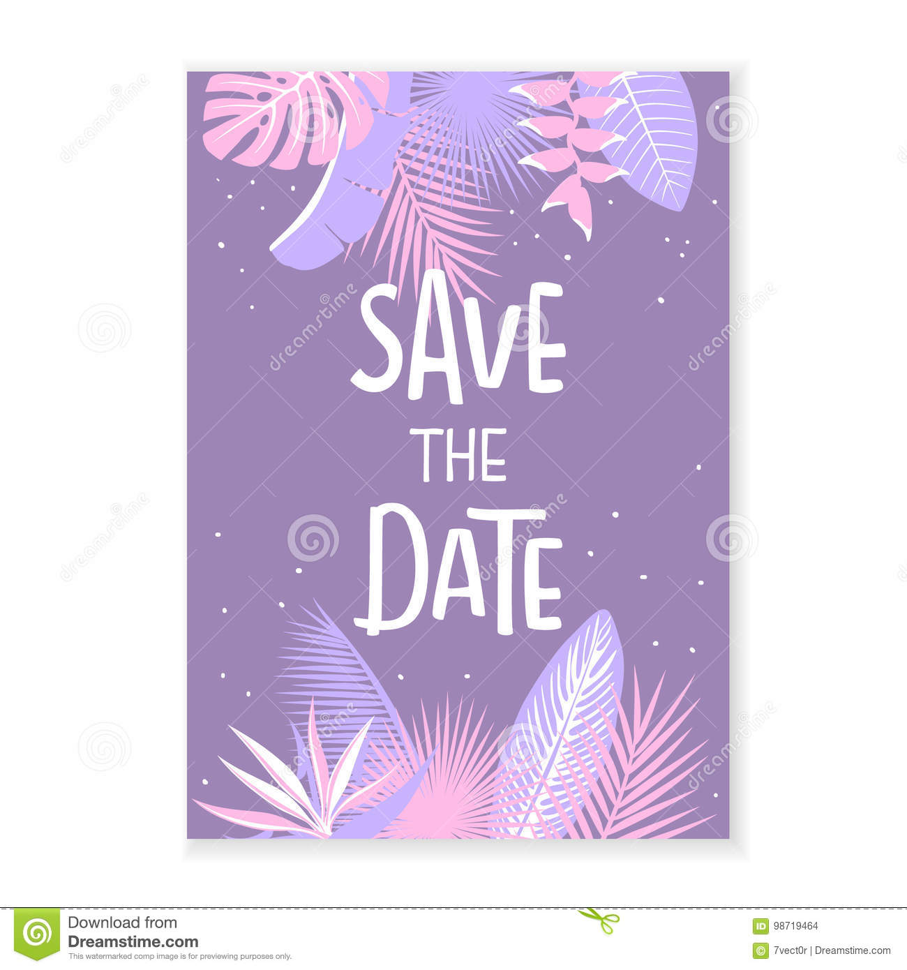 save the date wedding invitation template with tropical leaves stock