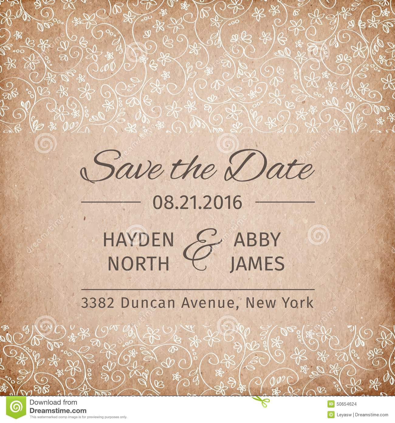 Save the date wedding invitation template vintage paper for Vintage save the date templates free