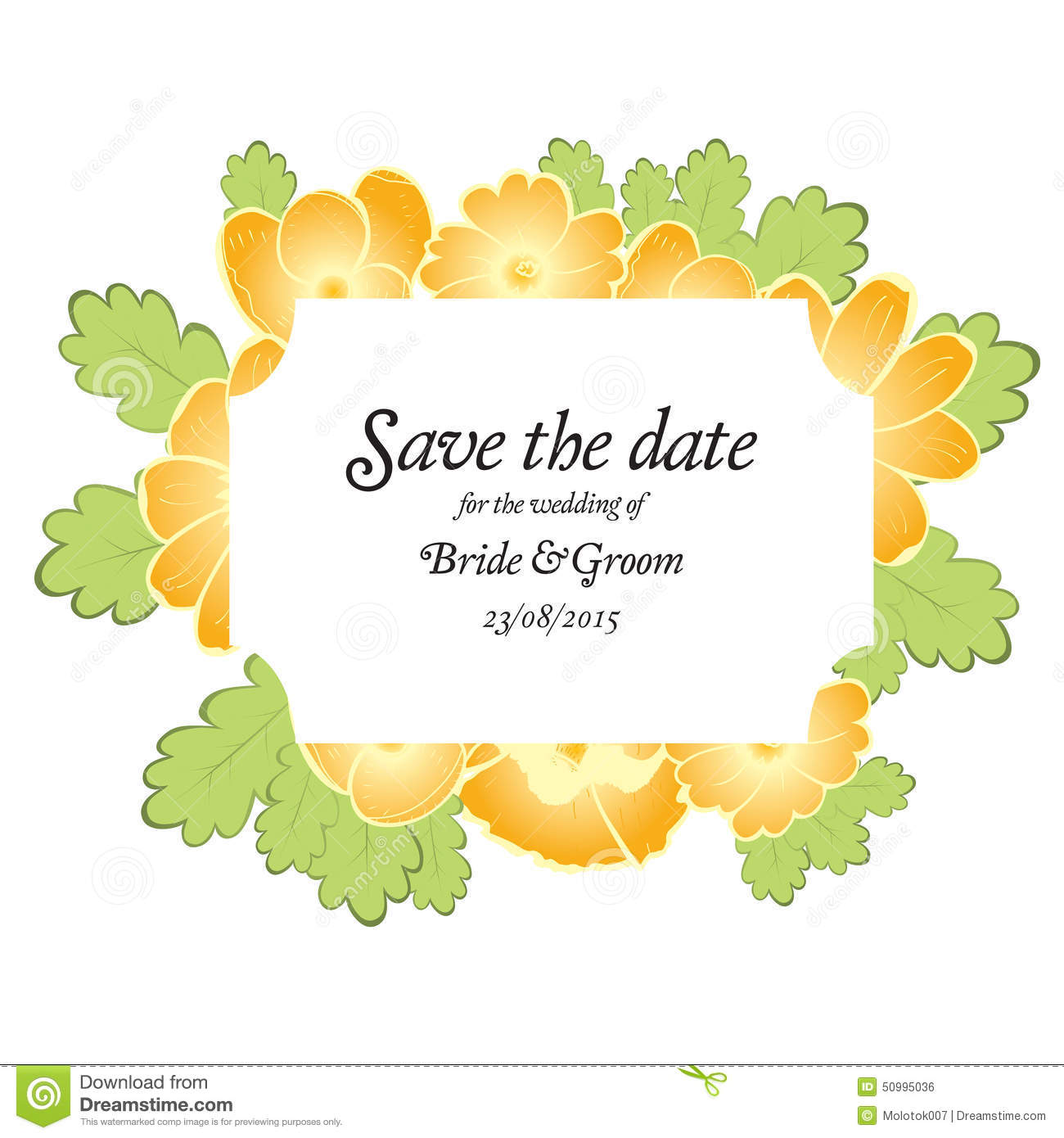 Save The Date Wedding Invite Card Template With Golden Flowers – Invite Card