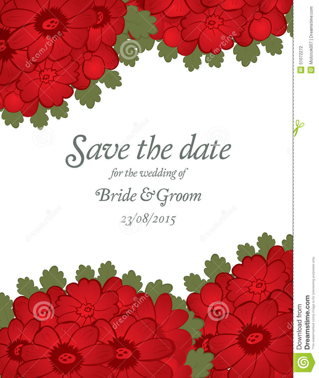 Save The Date Wedding Invite Card Template With Red Flowers Stock ...