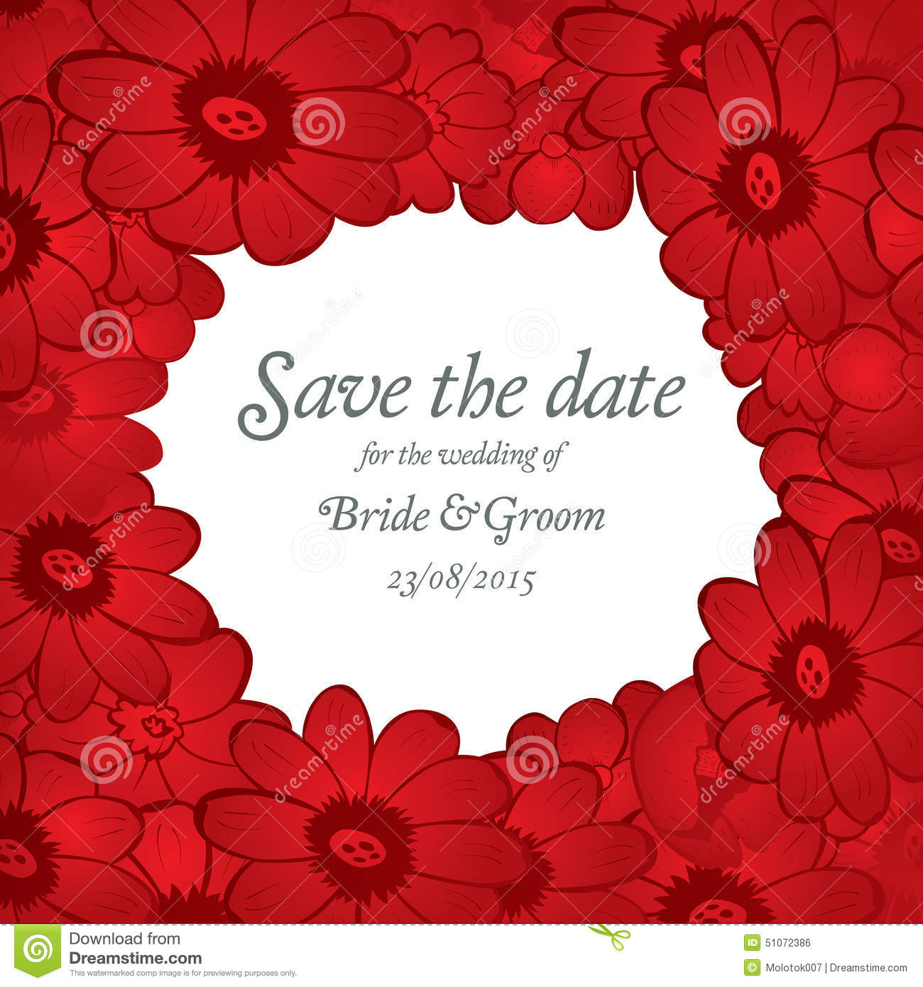 Save The Date Wedding Invite Card Template With Red Flowers Stock - Save the date holiday party templates free