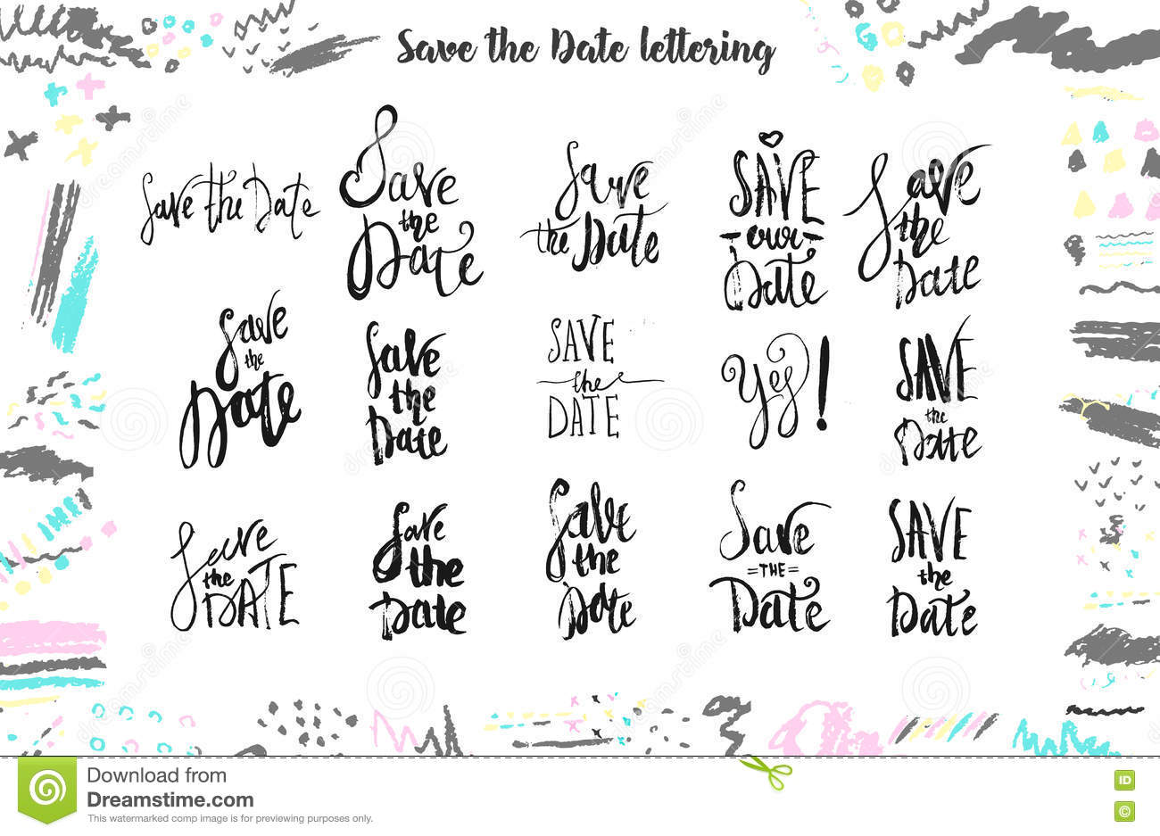 save the date wedding lettering for templates labels with hand