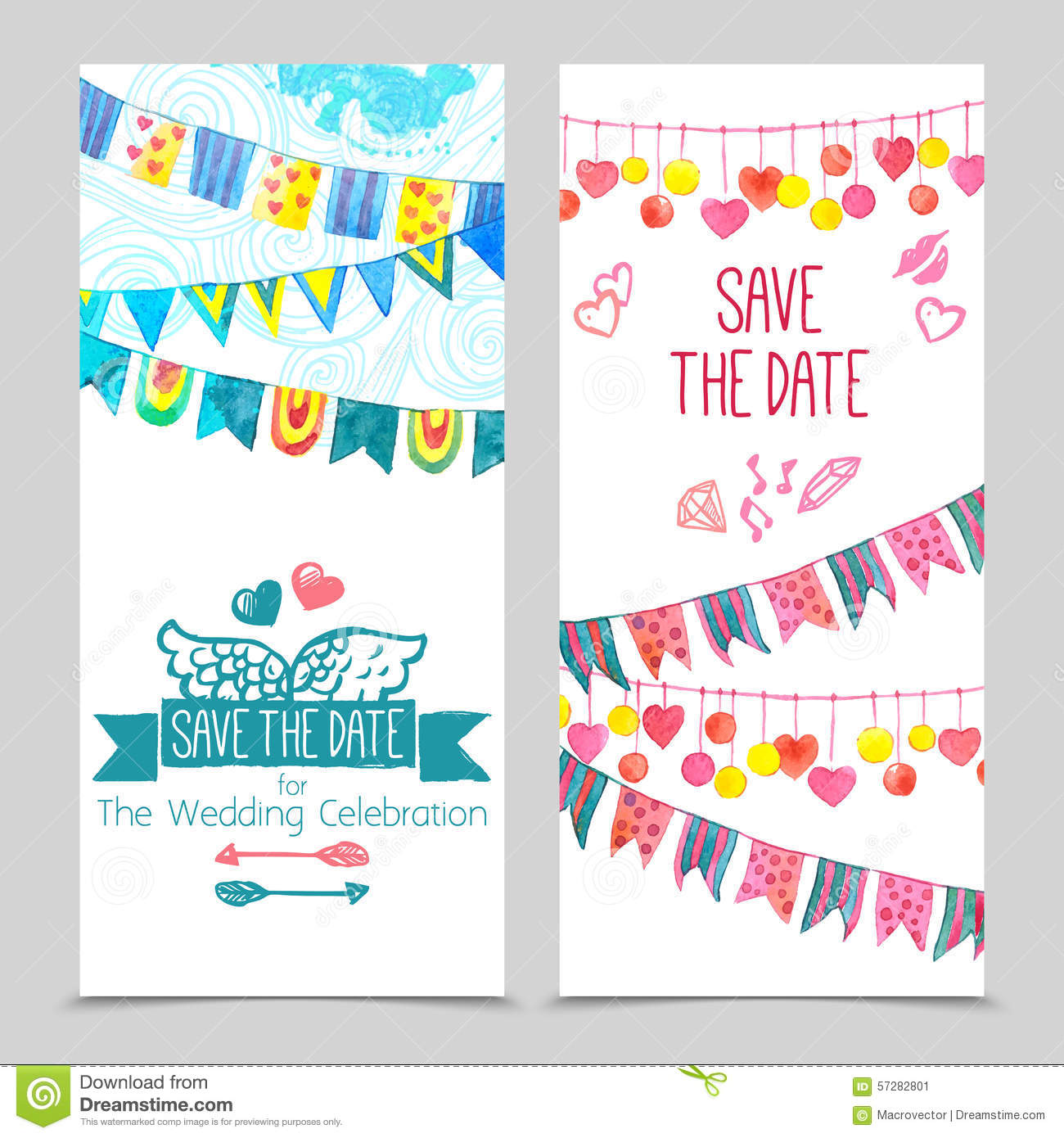 Save The Day Card Set Stock Illustration. Illustration Of