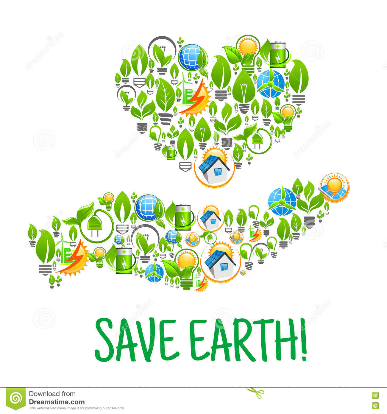 Save Earth. Eco Environment Creative Illustration Stock Vector - Image ...