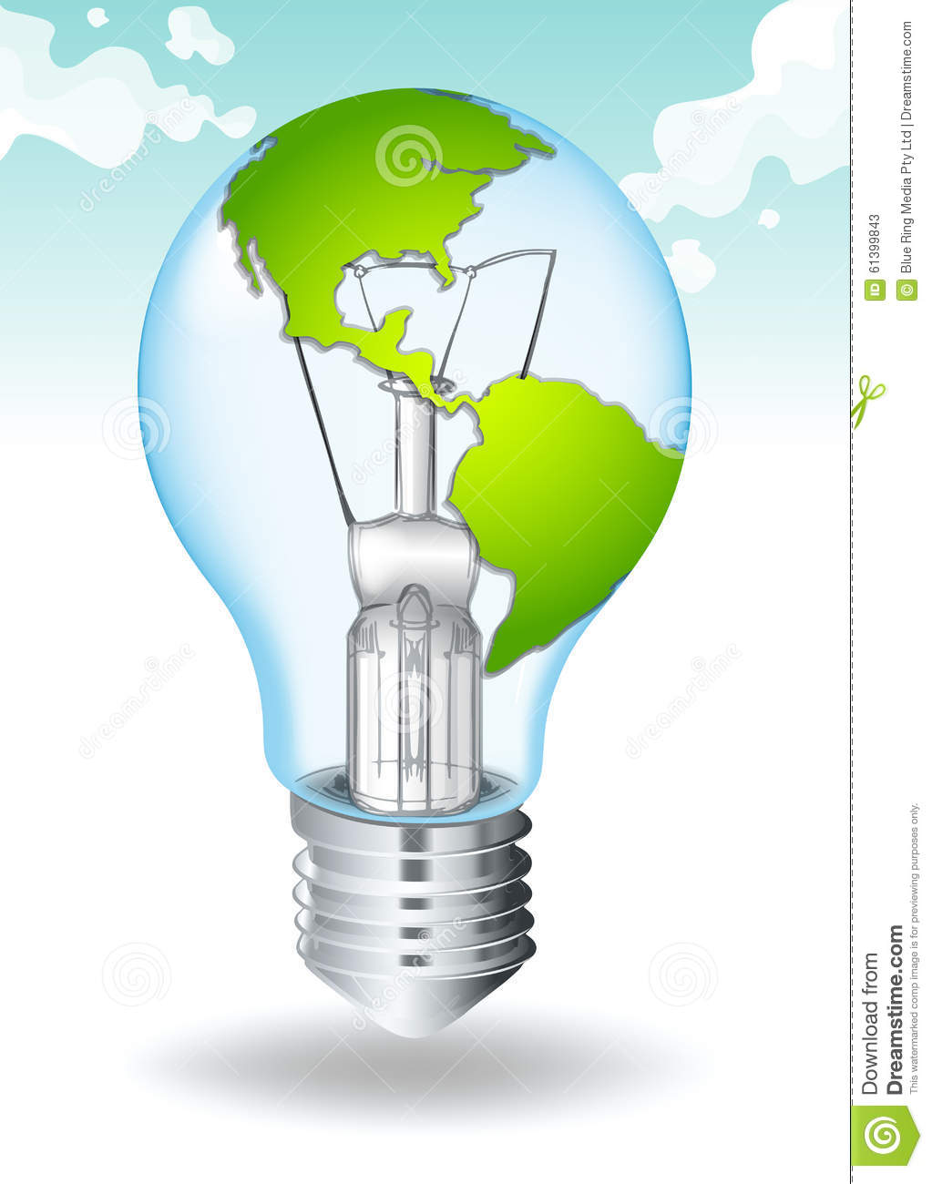 save energy with earth and light stock vector image