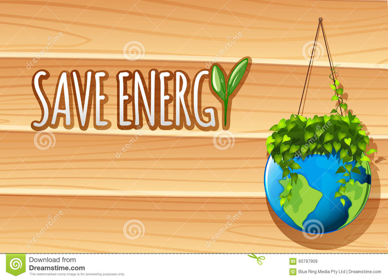 Save Energy Poster With Globe And Plants Stock Vector Illustration