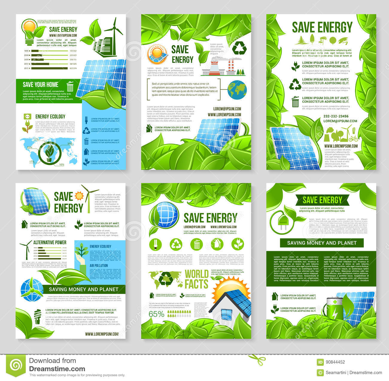 Save Energy Poster Template For Ecology Design Stock Vector