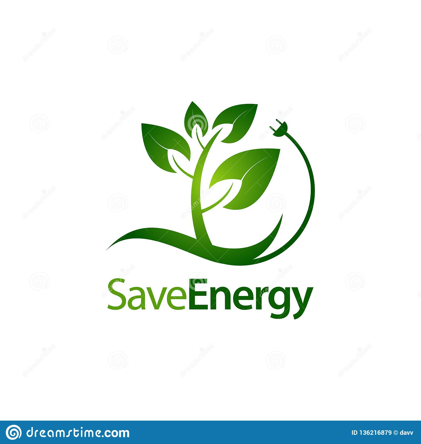 Save Energy Stem Leaves With Electric Plug Icon Logo Concept