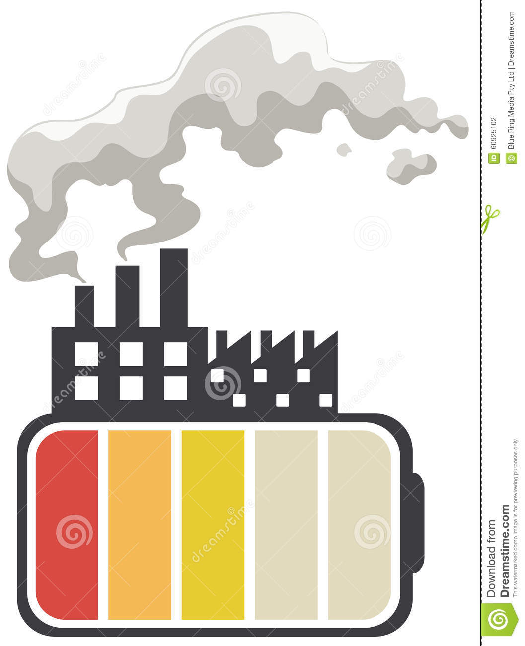Save Energy Theme With Battery And Factory Stock Vector