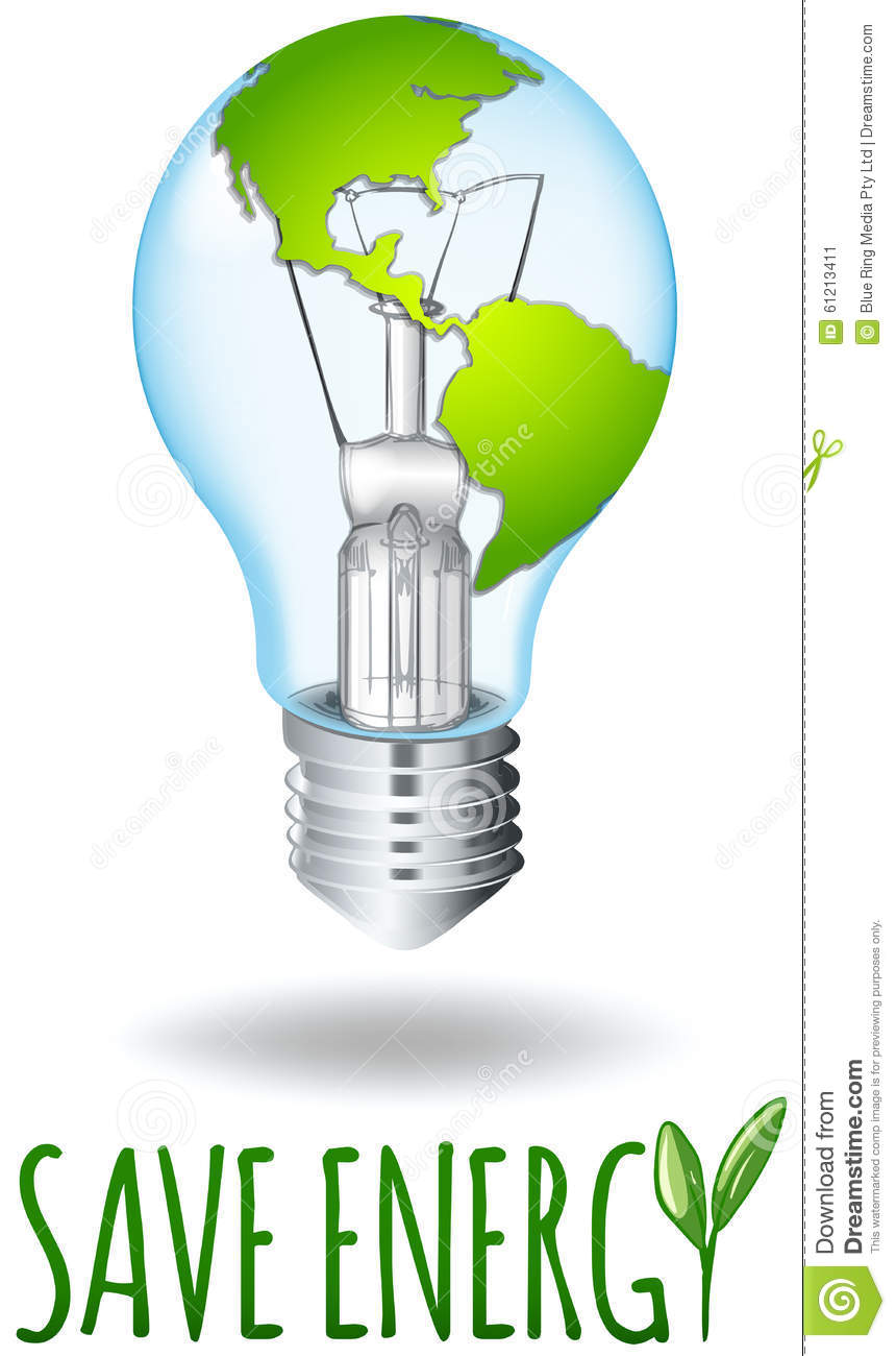 Save energy theme with earth on lightbulb stock vector for Save energy painting