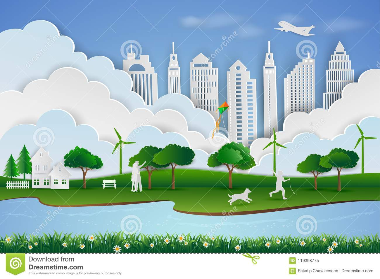 Save The Environment And Energy Concept Paper Art Design Of