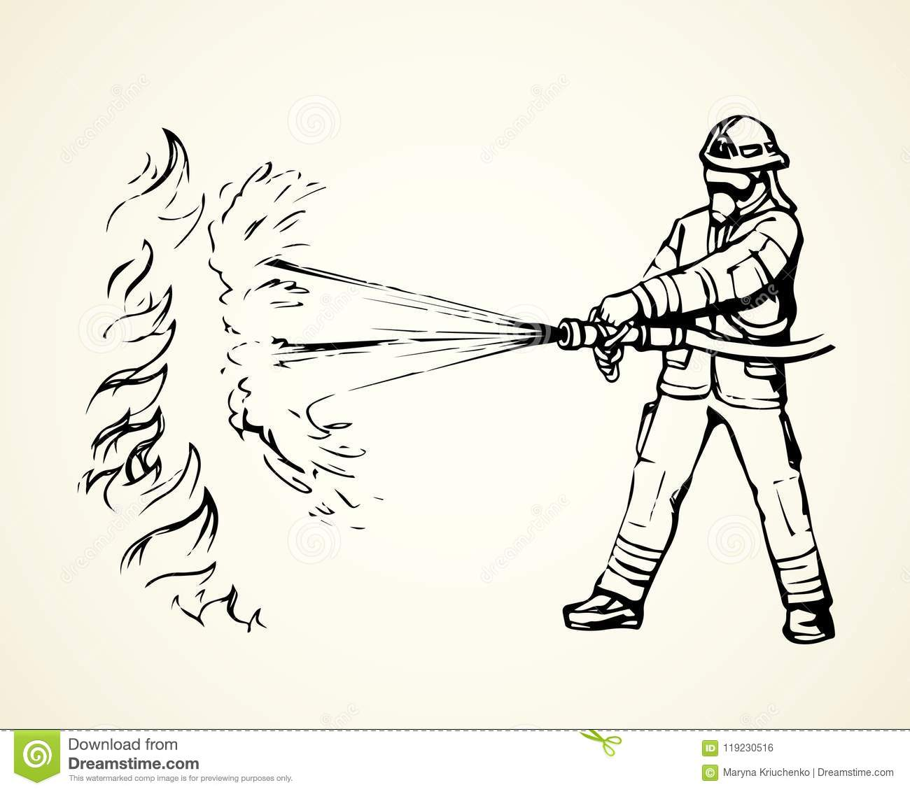 firefighter vector drawing stock vector illustration of