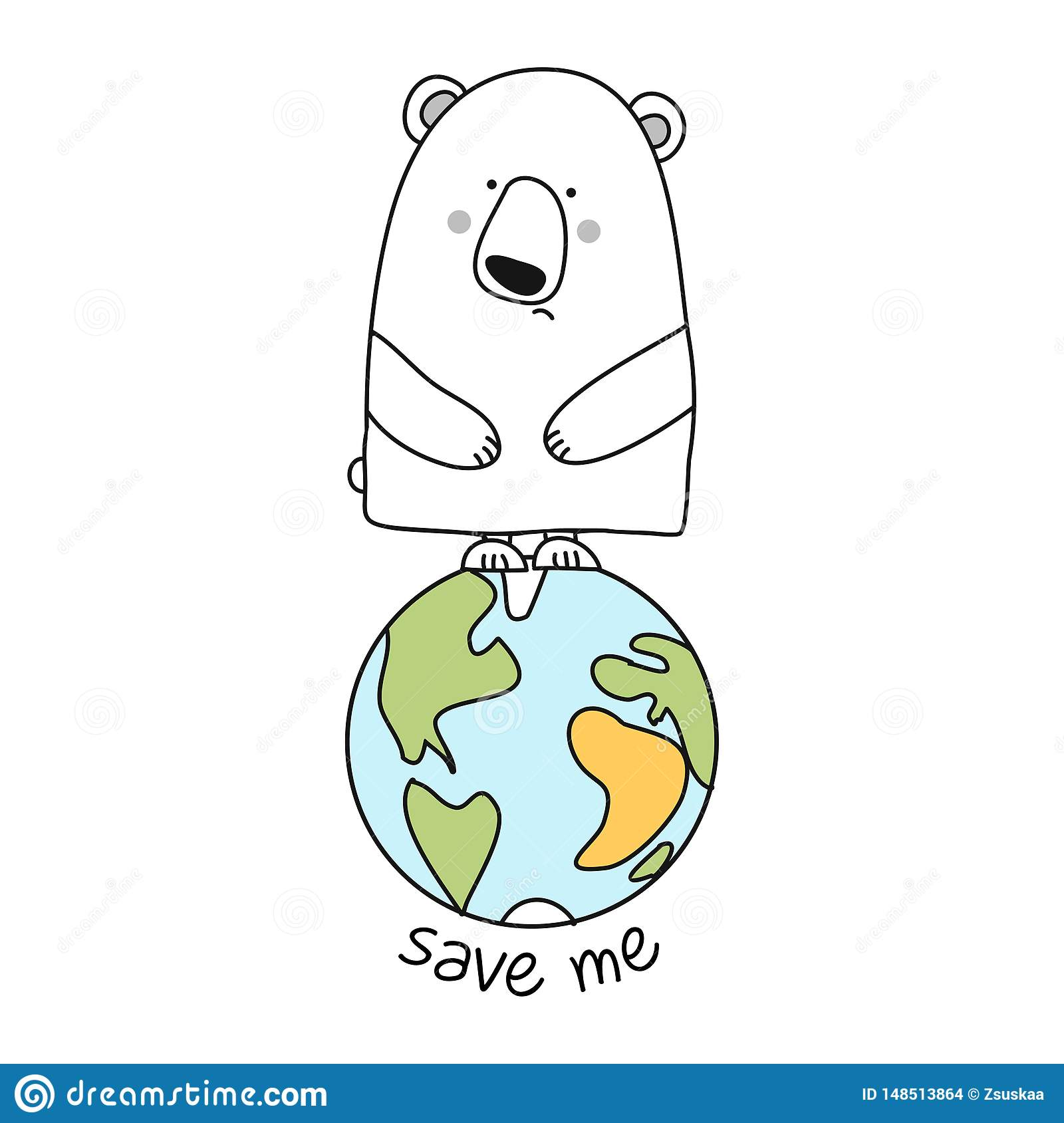 Save Me Funny Vector Text Quotes And Polar Bear Drawing