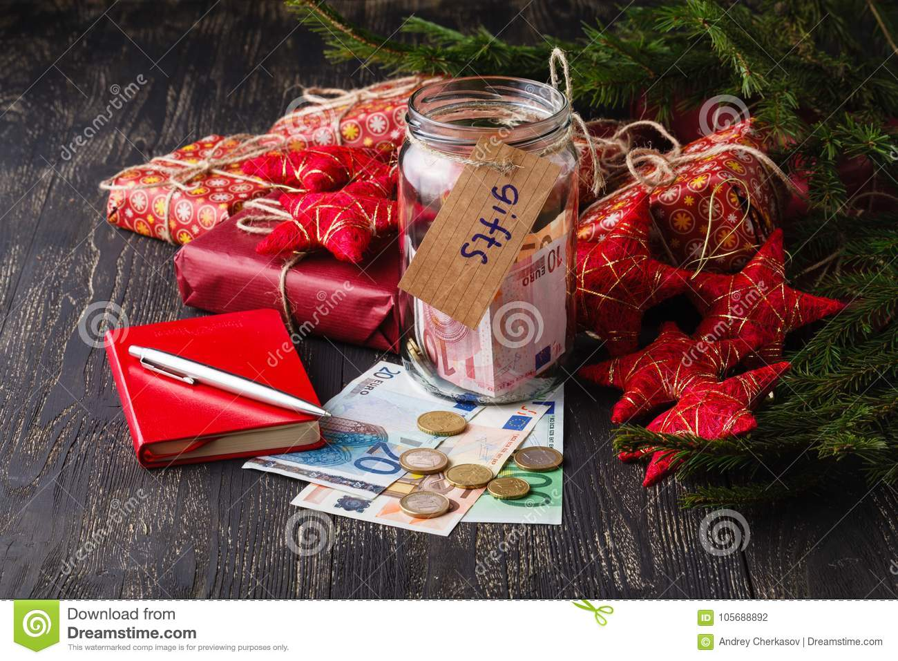 Save Money For Christmas Gift Concept With Glass Jar Stock Photo ...