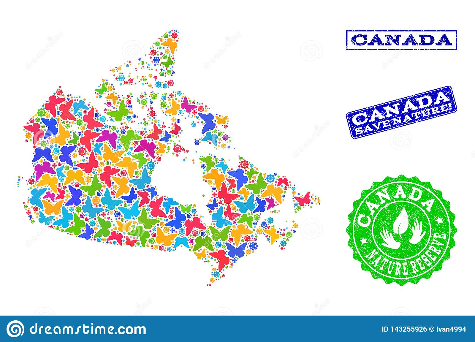 Colored Map Of Canada.Save Nature Collage Of Map Of Canada With Butterflies And Scratched