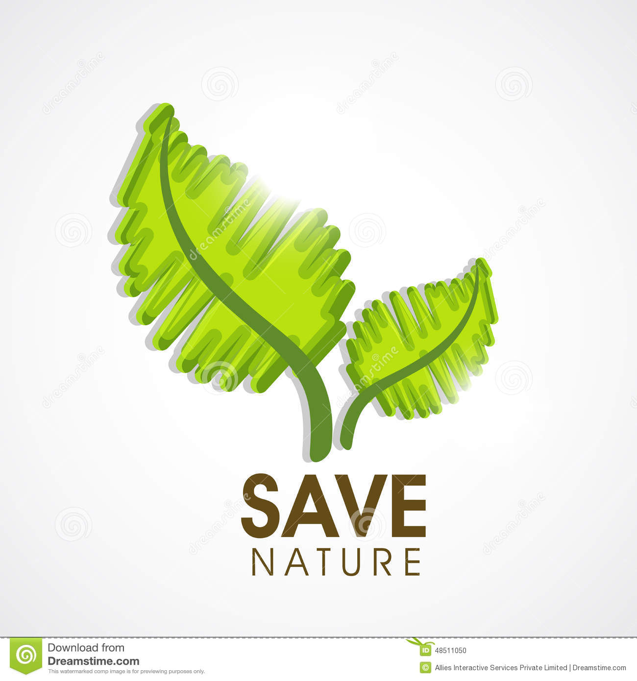 Save Nature Concept With Green Leaves Stock Illustration
