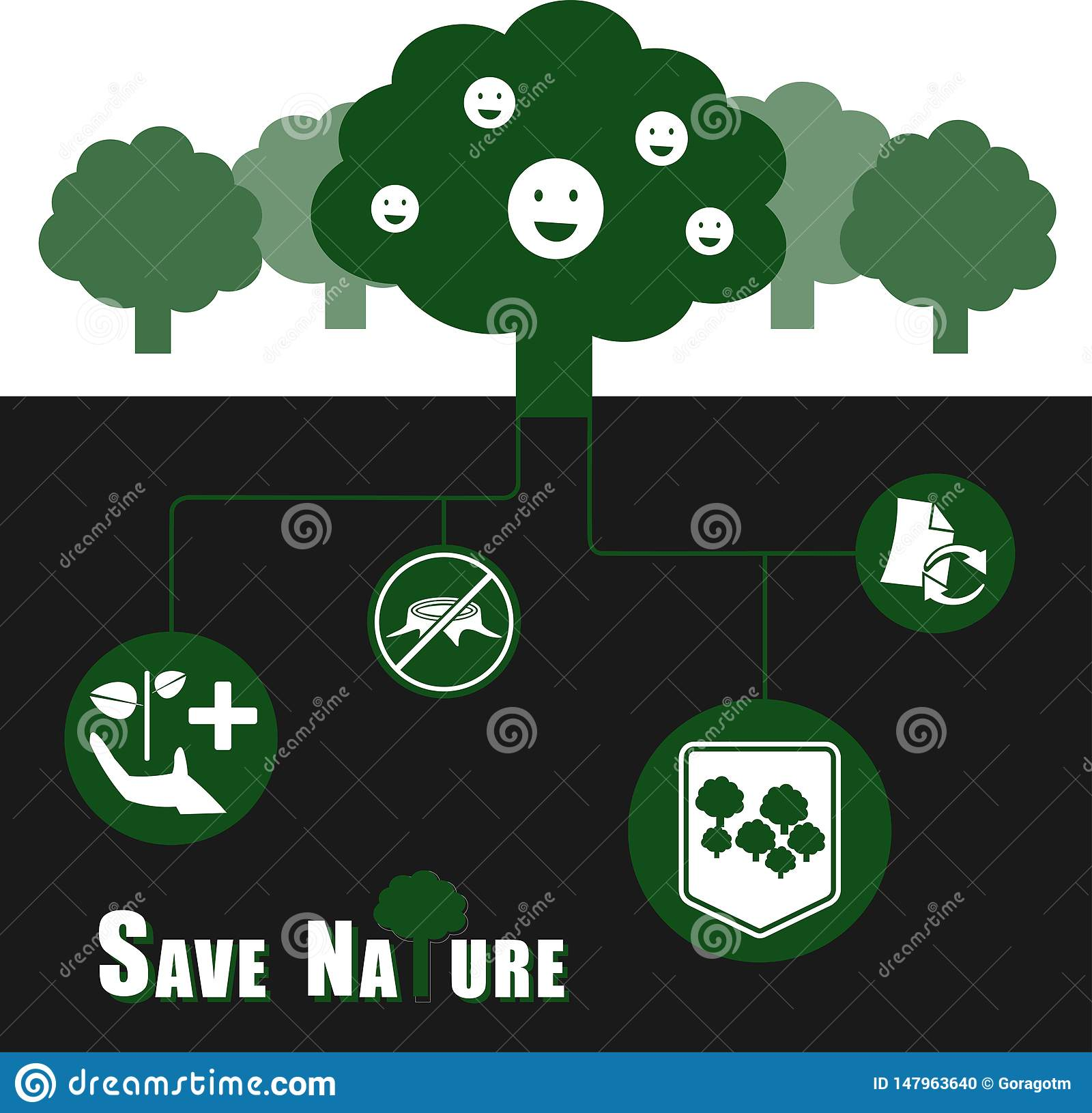 Save nature vector illustration infographic concept