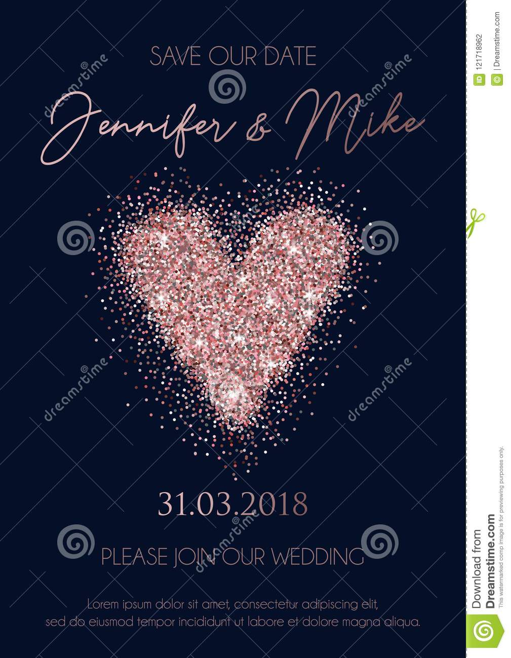 Save Our Date Wedding Invitation Design Elegance Template For