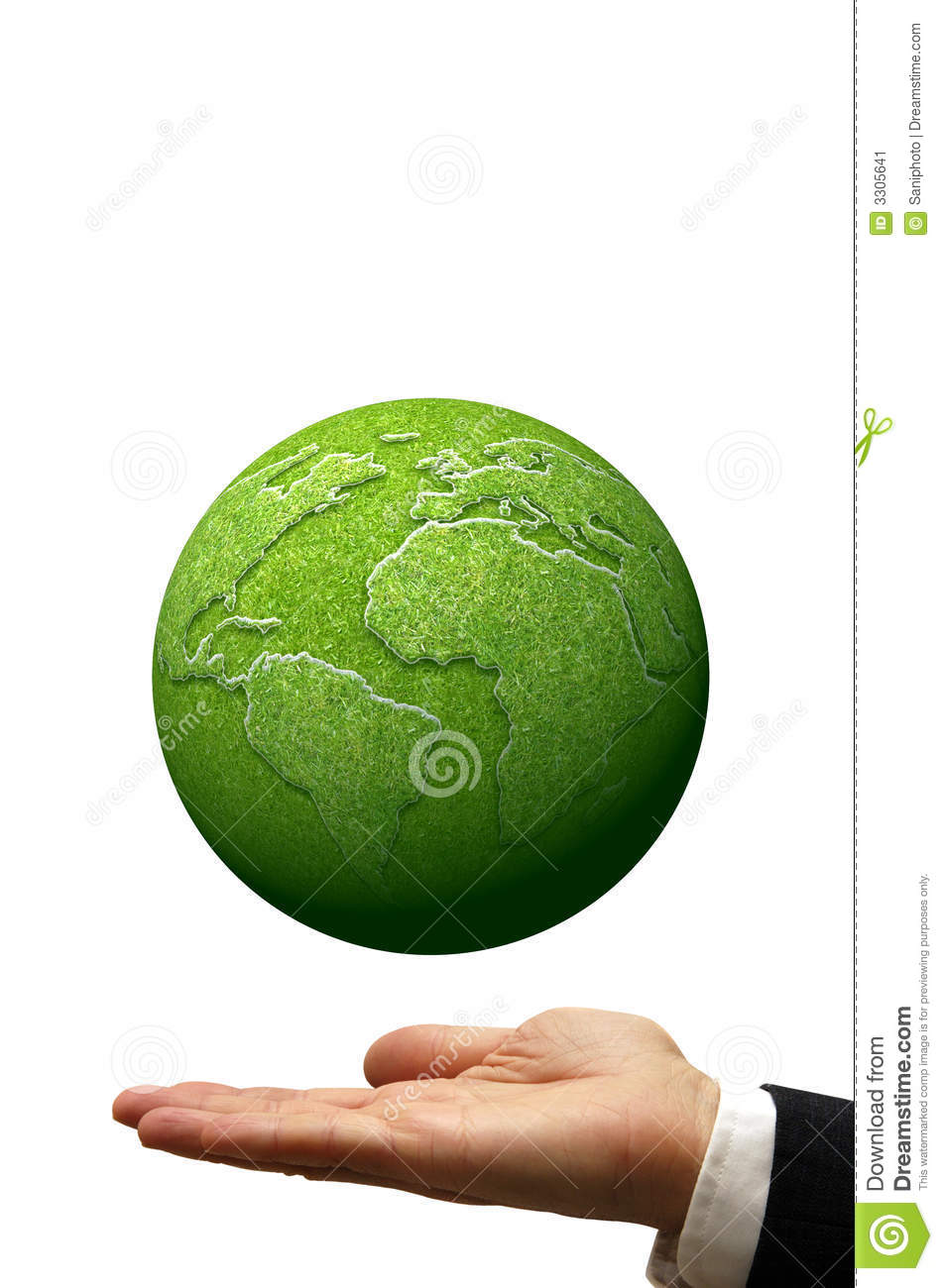 Businessman with open hand and an earth globe made of grass floating