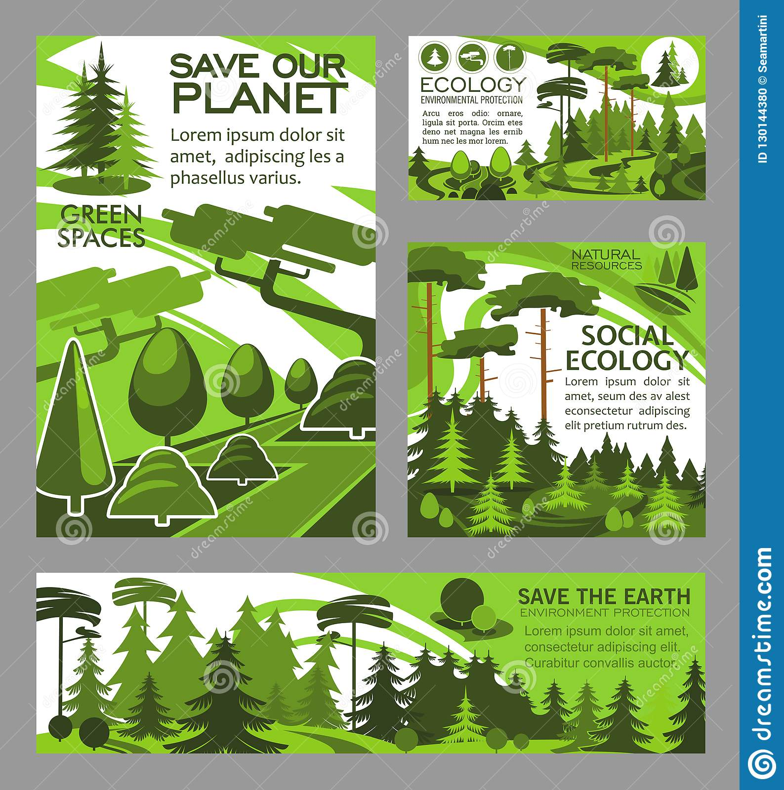 Save Planet Ecology Green Project Vector Posters Stock