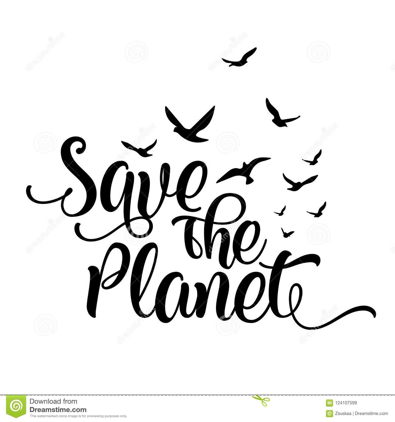Save The Planet Funny Vector Text Quotes Stock Vector