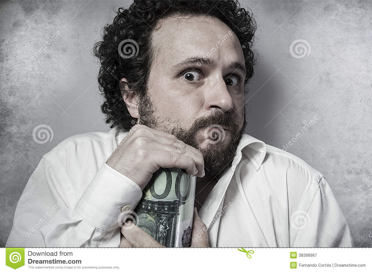 Stingy businessman saving money man in white shirt with for Man in white shirt