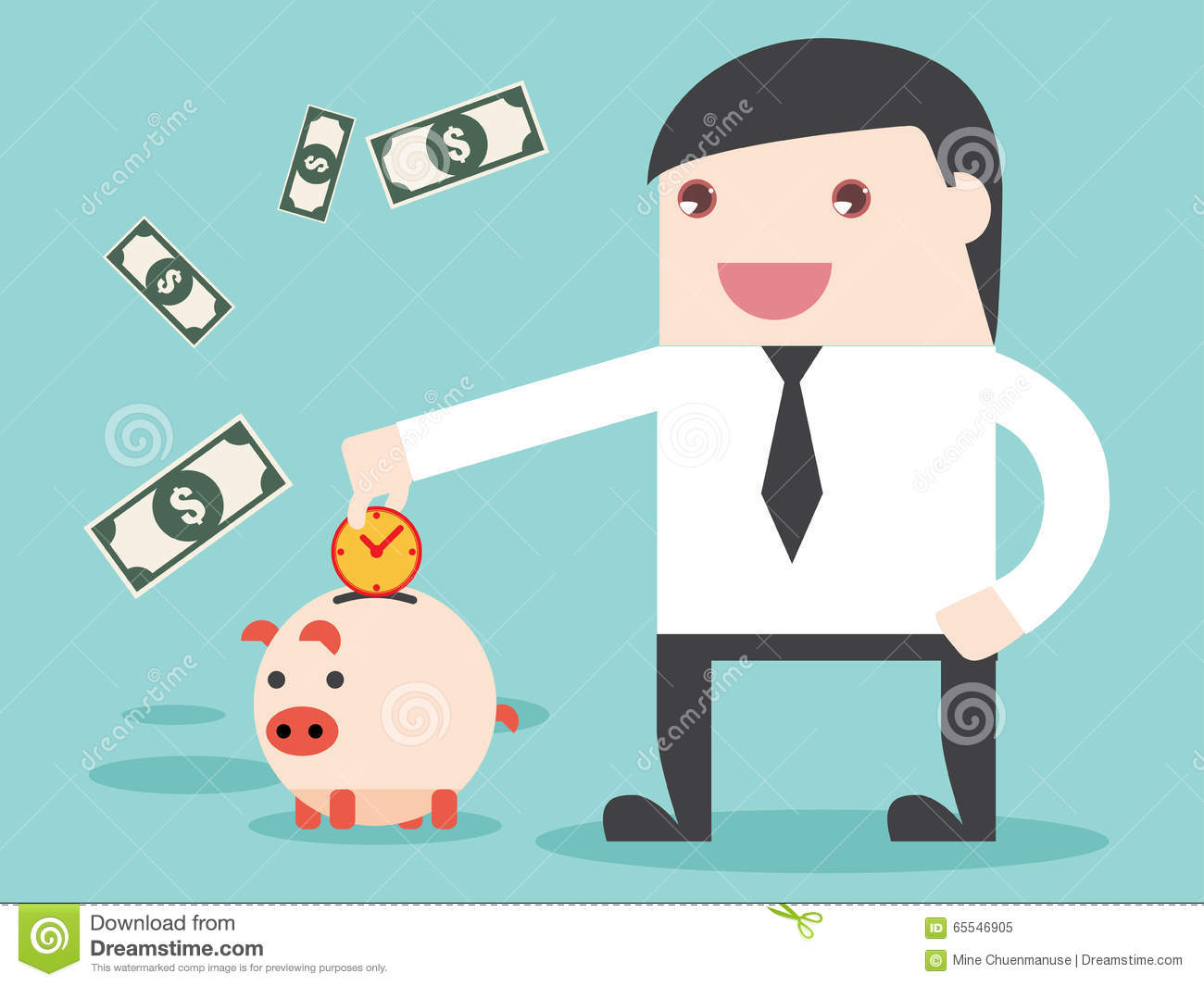 Save Time To Make Money Be Achievement Stock Vector