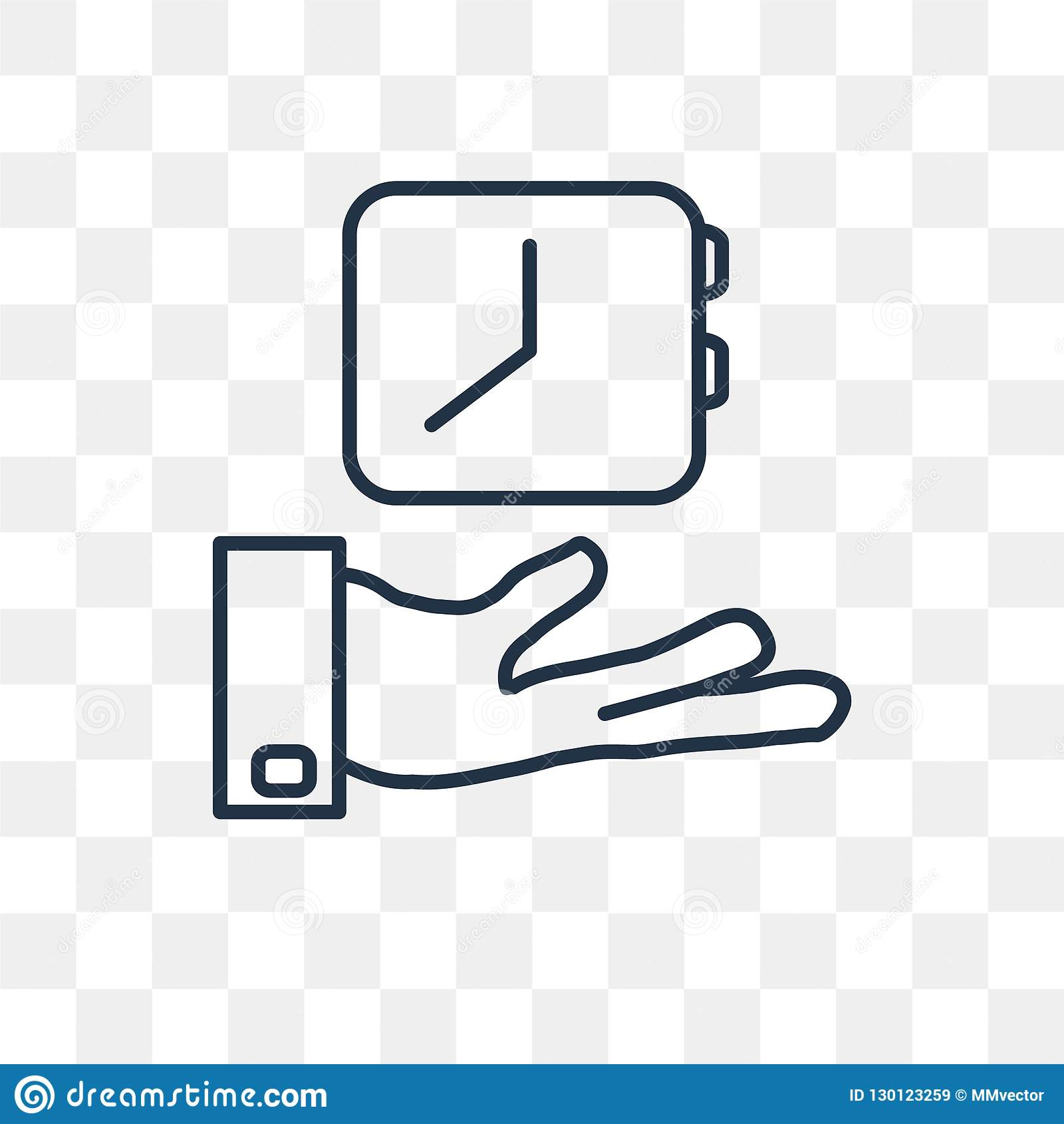 Save time vector icon isolated on transparent background, linear