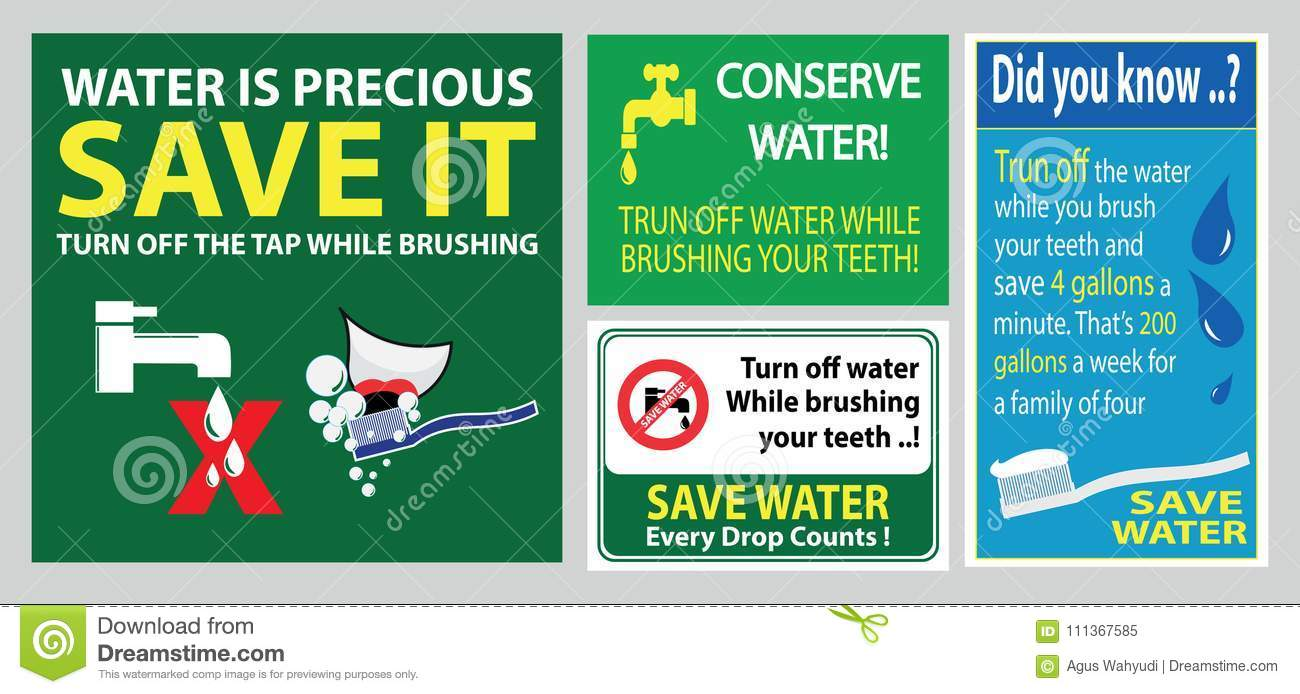Save Water Brush Teeth Sign Stock Illustration - Illustration of ...