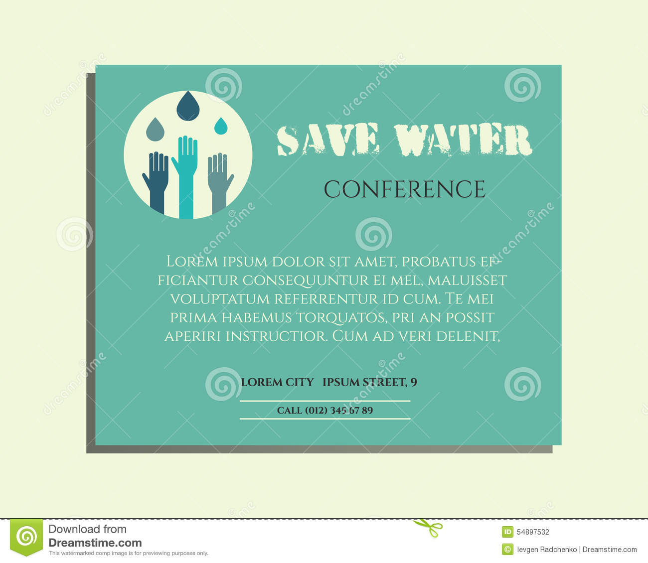 save water conference poster invitation template stock vector