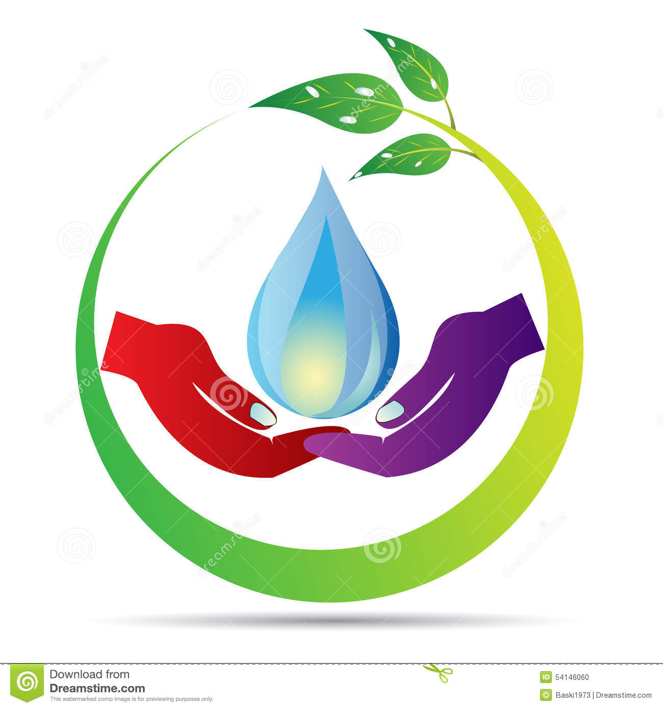 Save water drop vector drawing in white background