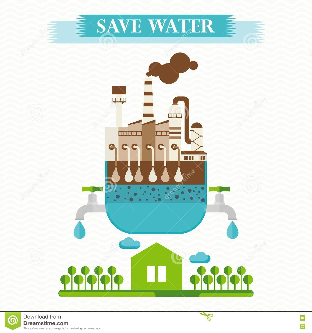 Poster design on save water - Background Concept Design Eco Flat Illustration Purification Save Vector Water