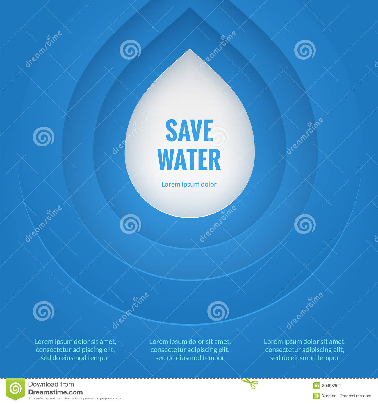 Poster design on save water - Background Blue Concept Drop Eco Poster Save Water