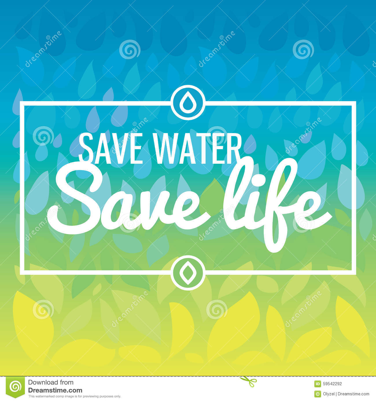 save water   save life hand drawn drops and stock vector