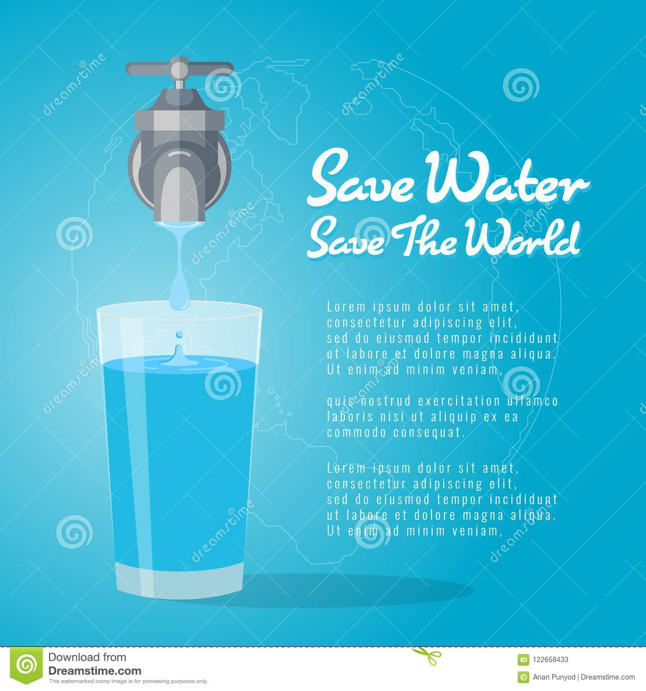 Save Water Save The World , Faucet Or Water Tap With A Drop Of Water ...