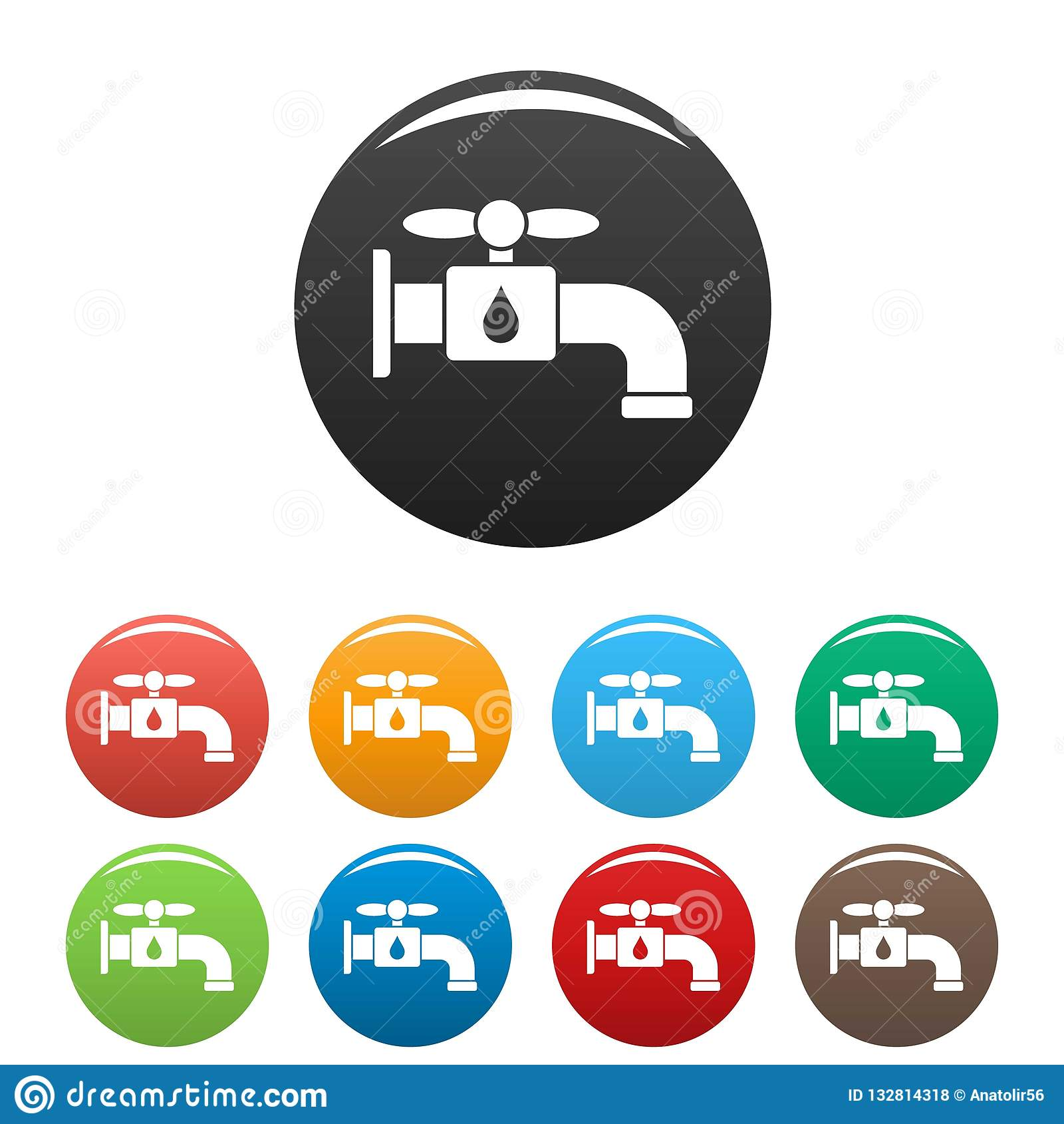 Save water tap icons set color