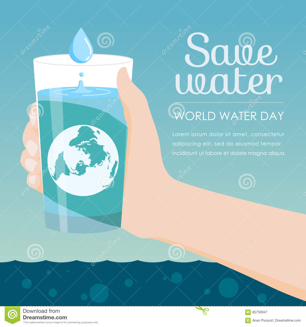 Save water in world water day - Hand holding a glass of water and earth vector design