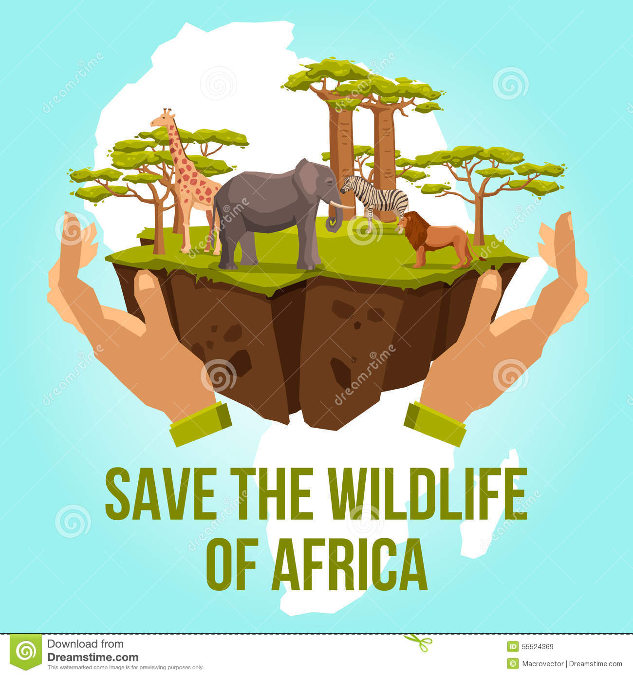 Save The Wildlife Of Africa Concept Stock Vector - Image ...